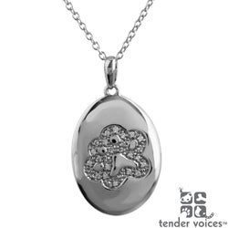 Tender Voices Sterling Silver Diamond Accent Oval Paw Medallion Pendant