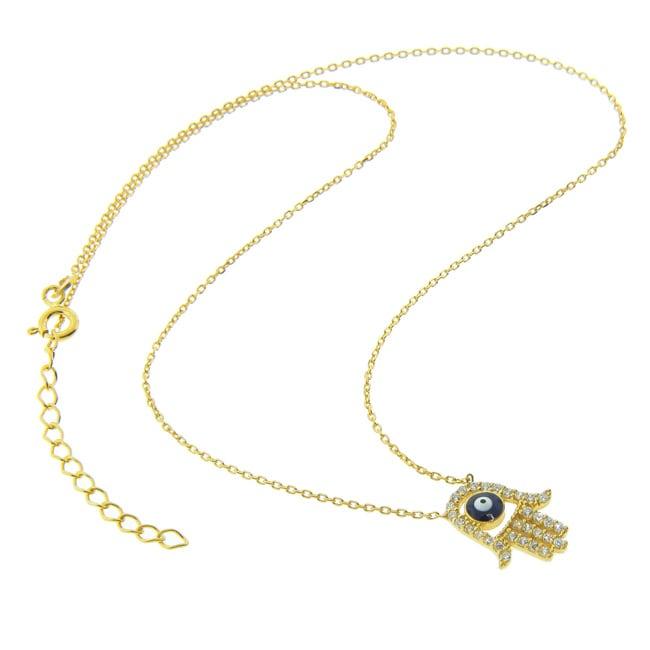 Eternally Haute Gold over Silver CZ Evil Eye Hamsa Necklace