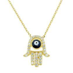 Eternally Haute Gold over Silver CZ Evil Eye Hamsa Necklace - Thumbnail 1