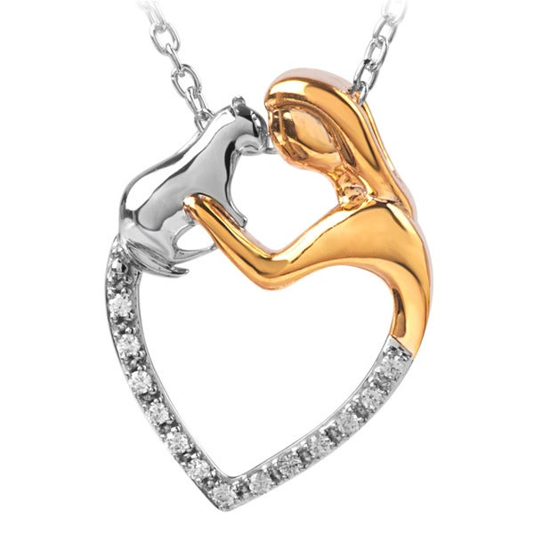 ASPCA Tender Voices Silver Diamond Accent Lady and Cat Necklace