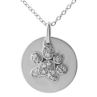 ASPCA Tender Voices Diamond Accent Dog Paw Circle Necklace