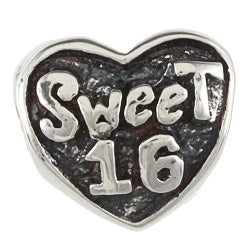 Sterling Silver Sweet 16 Heart Charm Bead