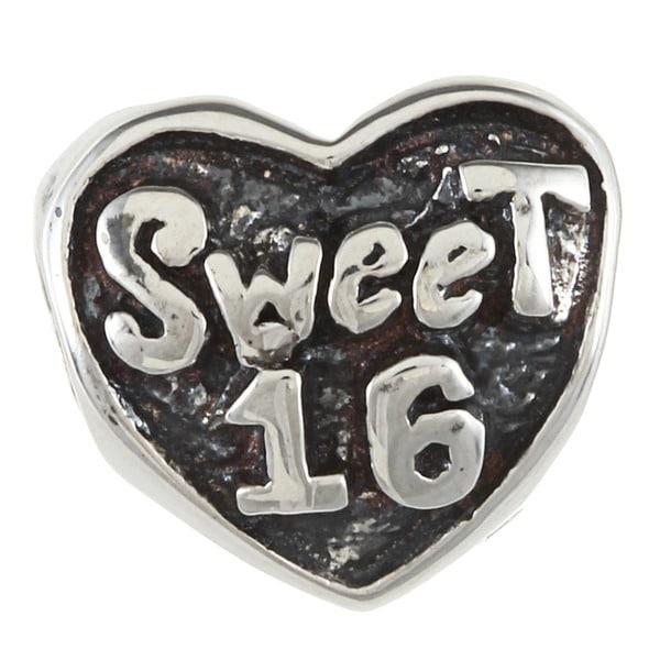Sterling Silver Sweet 16 Heart Charm Bead