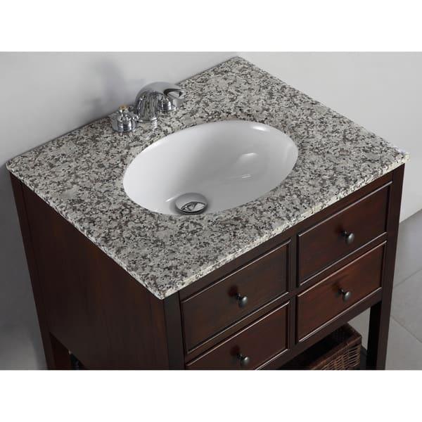Wyndenhall New Haven Walnut Brown 2 Drawer 24 Inch Bath Vanity Set With Dappled Grey Granite Top Overstock 6910563
