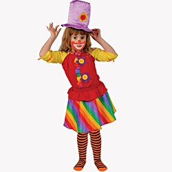 Dress Up America Girl's 'Rainbow Clown' Costume - Red