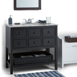 WYNDENHALL New Haven Espresso Brown 2-drawer 36-inch Bath Vanity Set with Dappled Grey Granite Top