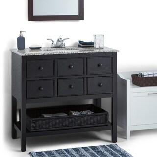 WYNDENHALL New Haven Espresso Brown 2-drawer 36-inch Bath Vanity Set with Dappled Grey Granite Top