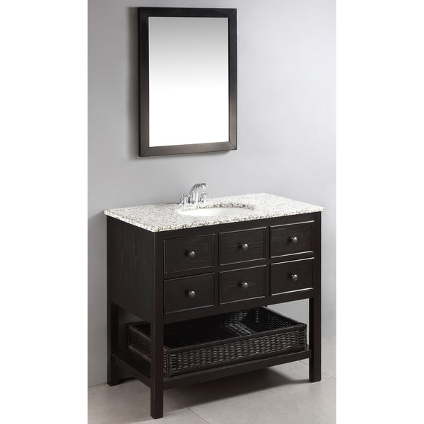 ... Brown 2-drawer 36-inch Bath Vanity Set with Dappled Grey Granite Top