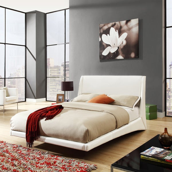 TRIBECCA HOME Carterton White Bonded Leather Modern Floating Bed