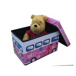 Toddler Pink Love Bus Folding Storage Ottoman (Small Size) - Thumbnail 1