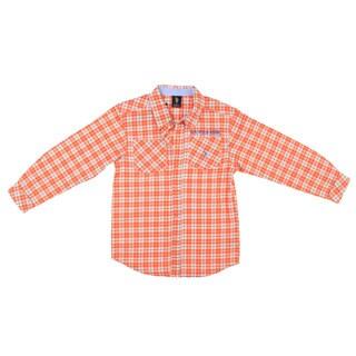 US Polo Boy's Orange Plaid Button Front Shirt