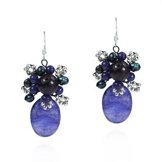 Handmade Crowned Oval Purple Agate Amethyst Earrings (Thailand)