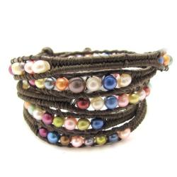 Colorful Parade Freshwater Pearls Five Wrap Bracelet (Thailand)