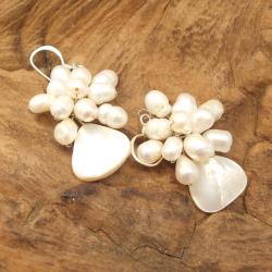 Handmade Floral Star Ray Freshwater White Pearl Earrings (Thailand) - Thumbnail 1