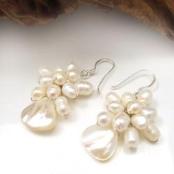Handmade Floral Star Ray Freshwater White Pearl Earrings (Thailand) - Thumbnail 2