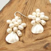 Handmade Floral Star Ray Freshwater White Pearl Earrings (Thailand)