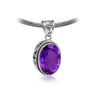 Handcrafted Sterling Silver and Amethyst Rope Edged Pendant ( Indonesia)
