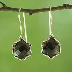 Handmade Sterling Silver/ Smoky Topaz Dangle Earrings (Indonesia)