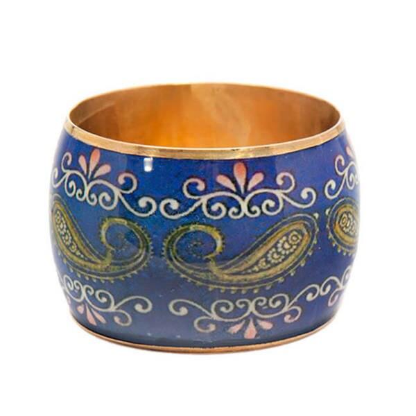 Hand-Painted Paisley Brass Bangle (India)