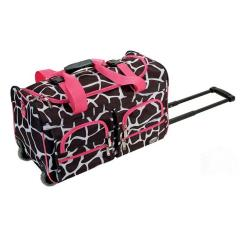 Rockland Deluxe Pink Giraffe Perfect Combination 3-piece Expandable Luggage Set - Thumbnail 1
