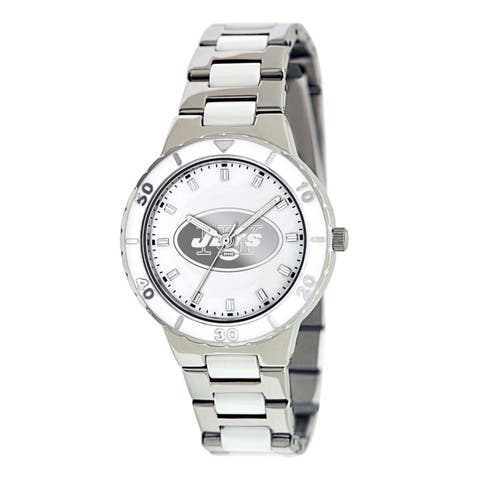 Game Time Women's New York Jets Logo Pearl Watch