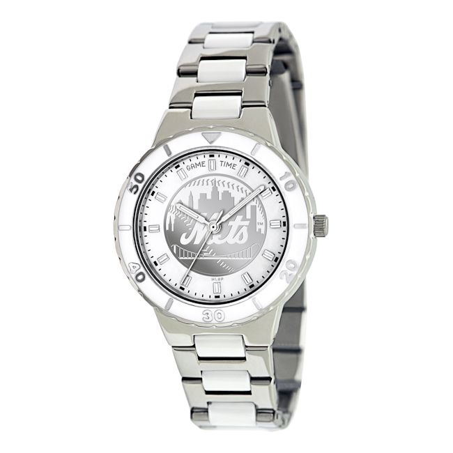 Game Time Women's New York Mets Logo Pearl Watch