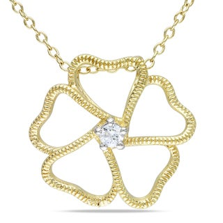 Miadora Yellow Silver 1/10ct TDW Diamond Flower Necklace