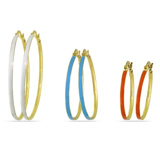 Miadora Three-piece Multi-Colored Enamel Hoop Earrings