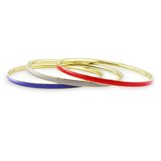 Miadora Three-piece Multi-colored Enamel Bangles