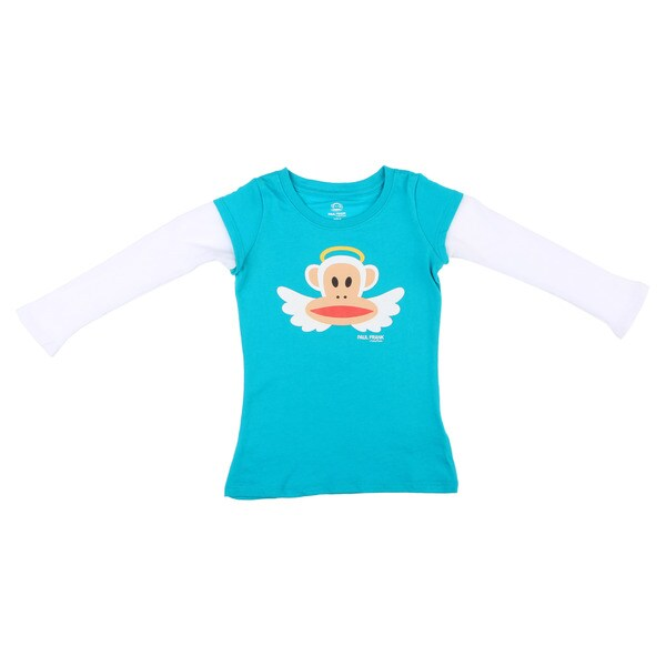 Paul Frank Girls Blue/White Angel Monkey Face Long-sleeved Cotton Top FINAL SALE