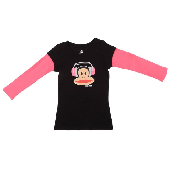 Paul Frank Girl's Black/ Pink Monkey Face Top