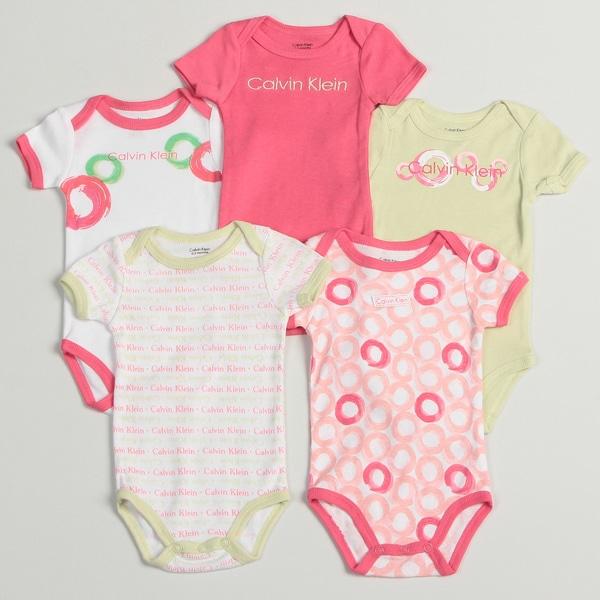 Calvin Klein Newborn Girl's Assorted Bodysuits (Set of 5)