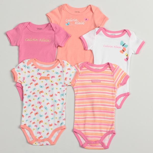 Calvin Klein Newborn Girls Assorted Bodysuit (Pack of 5)
