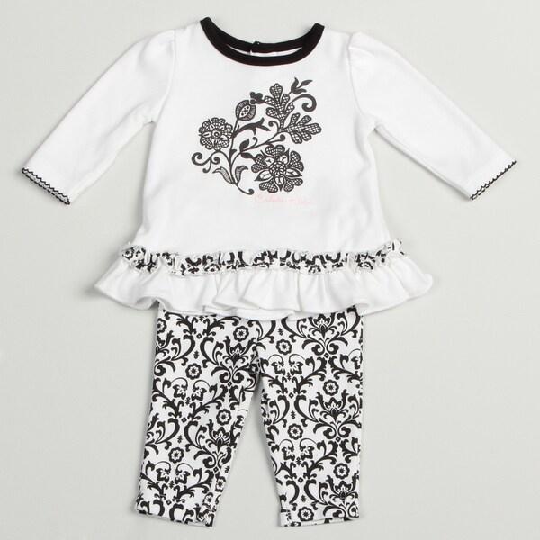 Calvin Klein Girl's Newborn White/ Black Two-piece Set