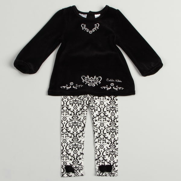 Calvin Klein Toddler Girls Black/ White 2-piece Set