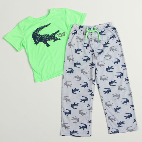 Calvin Klein Boys' Green/Light-blue Alligator-print Pajama Set