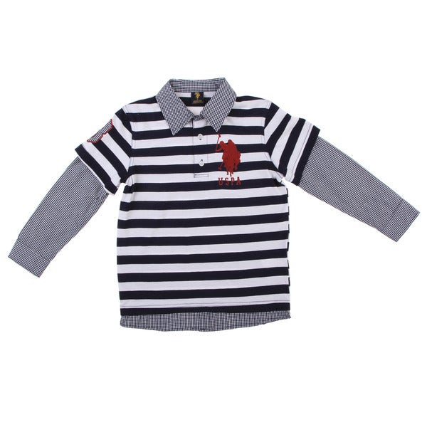 US Polo Boys' Navy/White Striped/Plaid Cotton/Polyester Polo Shirt FINAL SALE