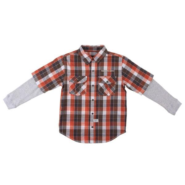 Calvin Klein Boys Orange/Gray Plaid Woven Cotton Button-down Shirt