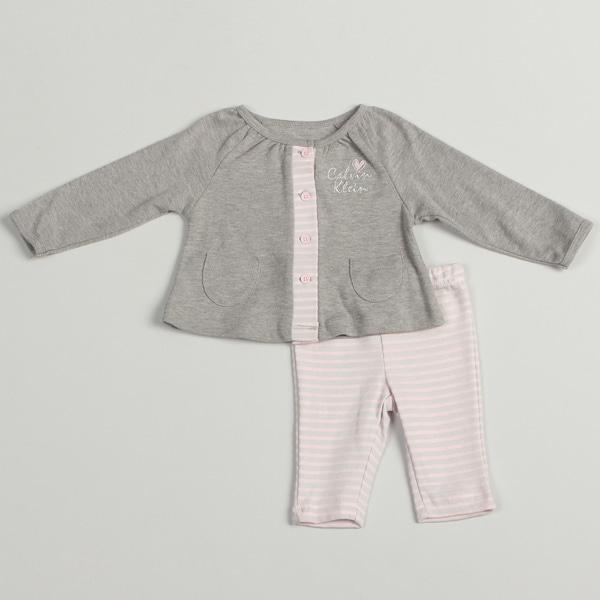 Calvin Klein Girl's Newborn Pink/ Grey 2 piece Set