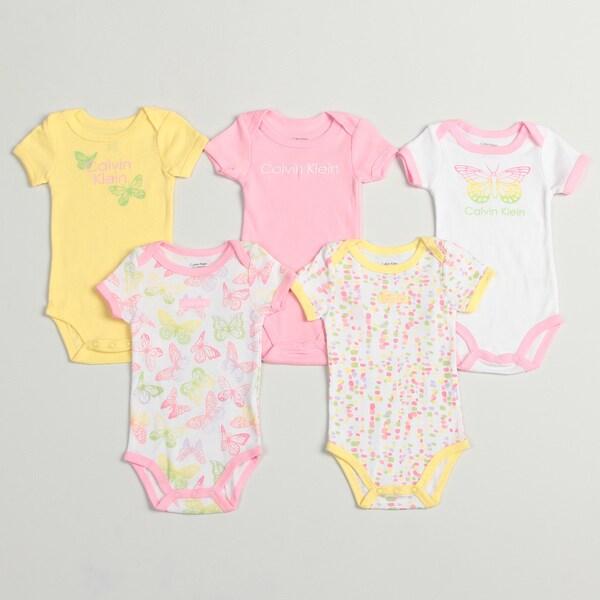 Calvin Klein Newborn Girls Assorted Bodysuits (Pack of 5)