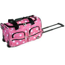 Rockland Perfect Ensemble Pink Dot 3-piece Expandable Luggage Set - Thumbnail 1