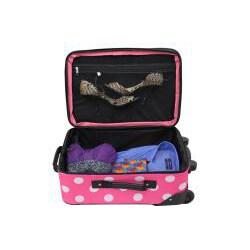 Rockland Perfect Ensemble Pink Dot 3-piece Expandable Luggage Set - Thumbnail 2