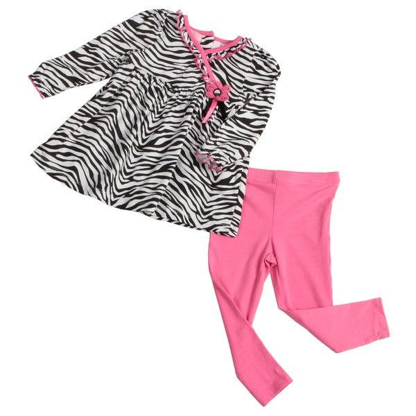 Kids Headquarters Toddler Girls' White/Pink/Black Zebra Two-piece Set