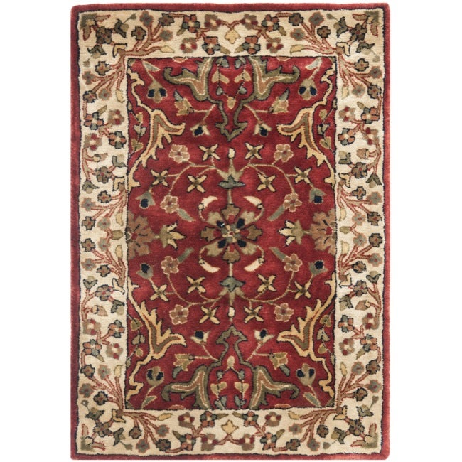 Safavieh Handmade Persian Legend Red/Ivory New-Zealand Wool Rug (2' x 3') - Thumbnail 0