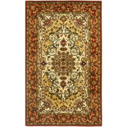 Safavieh Handmade Persian Legend Traditional Ivory/Rust Wool Rug (3' x 5')