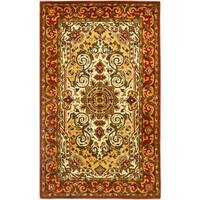 Safavieh Handmade Persian Legend Traditional Ivory/Rust Wool Rug - 3' x 5'