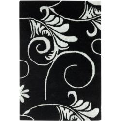 Safavieh Handmade Leaf Scrolls Black New Zealand Wool Rug (2' x 3')