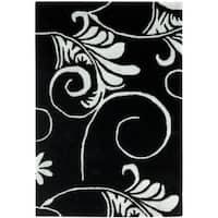 Safavieh Handmade Leaf Scrolls Black New Zealand Wool Rug - 2' X 3'