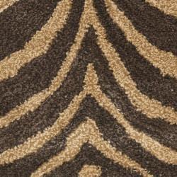 Safavieh Handmade Tiger Beige/ Brown New Zealand Wool Rug (2' x 3') - Thumbnail 2