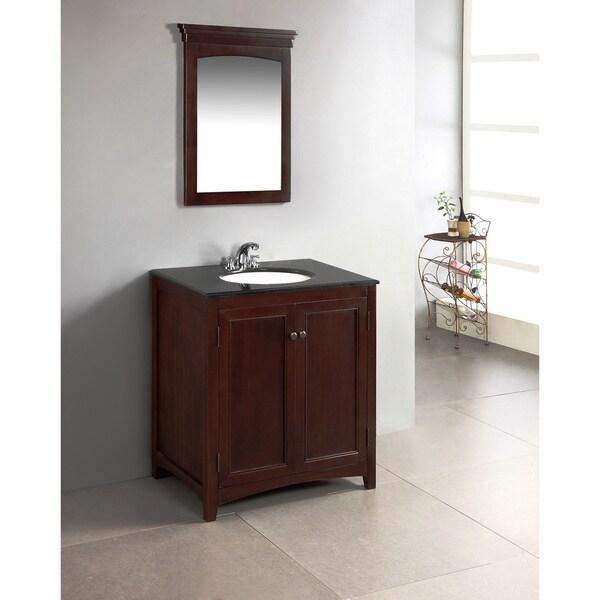 WYNDENHALL Windsor Walnut Brown 30-inch Bath Vanity with 2 Doors and Black Granite Top